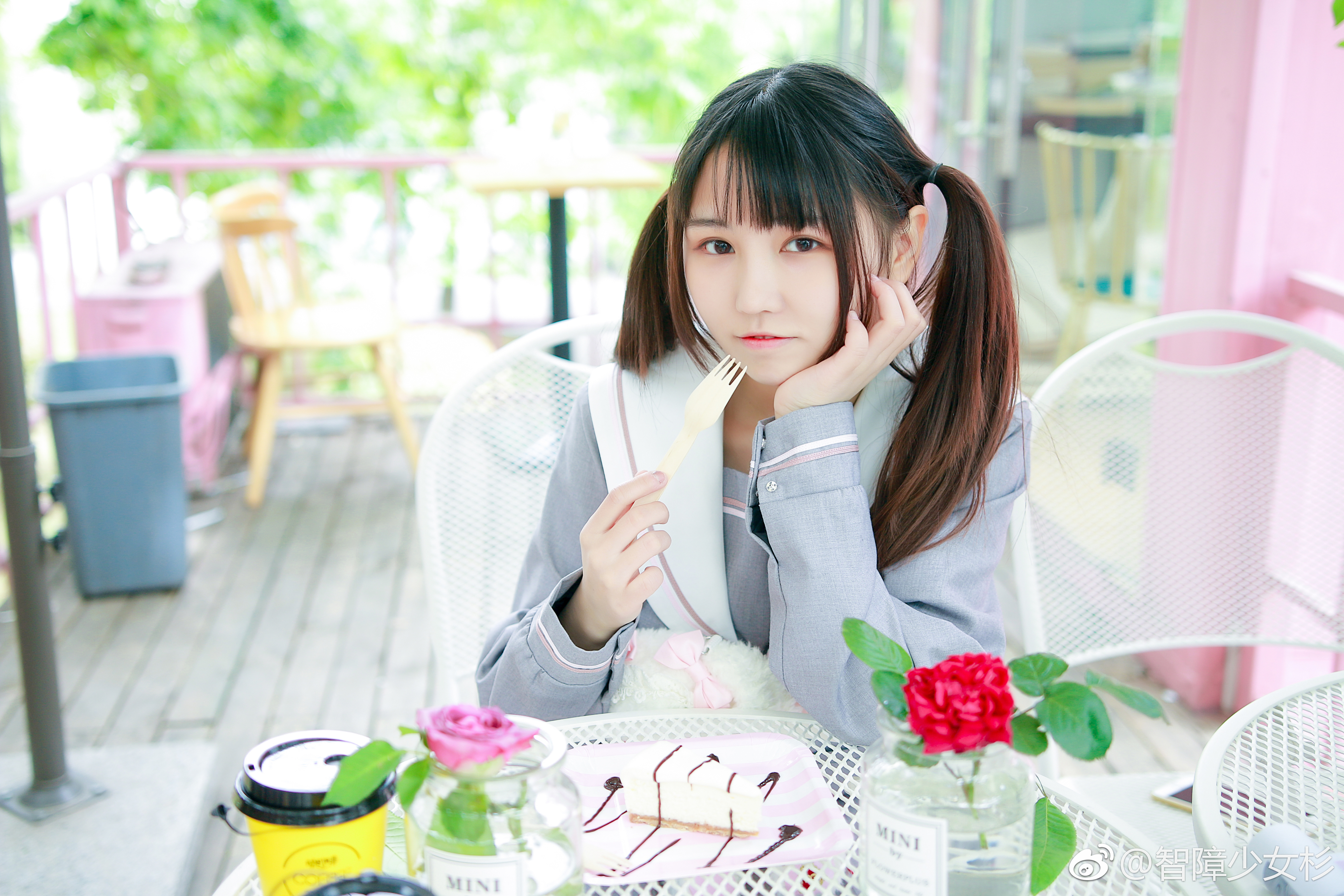 可爱双马尾萌妹子的JK制服 美女写真-第1张
