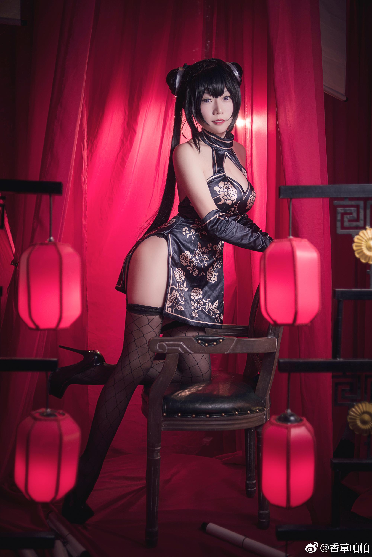 冬月茉莉黑色旗袍Cosplay