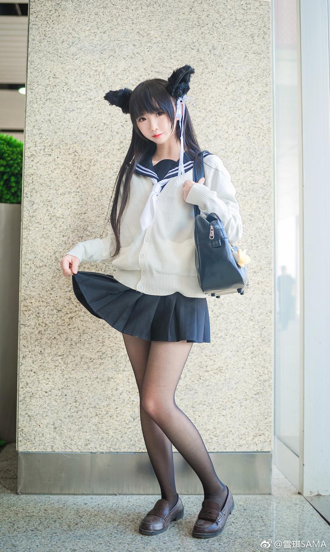 雪琪SAMA碧蓝航线Cos,黑丝制服爱宕(9P)