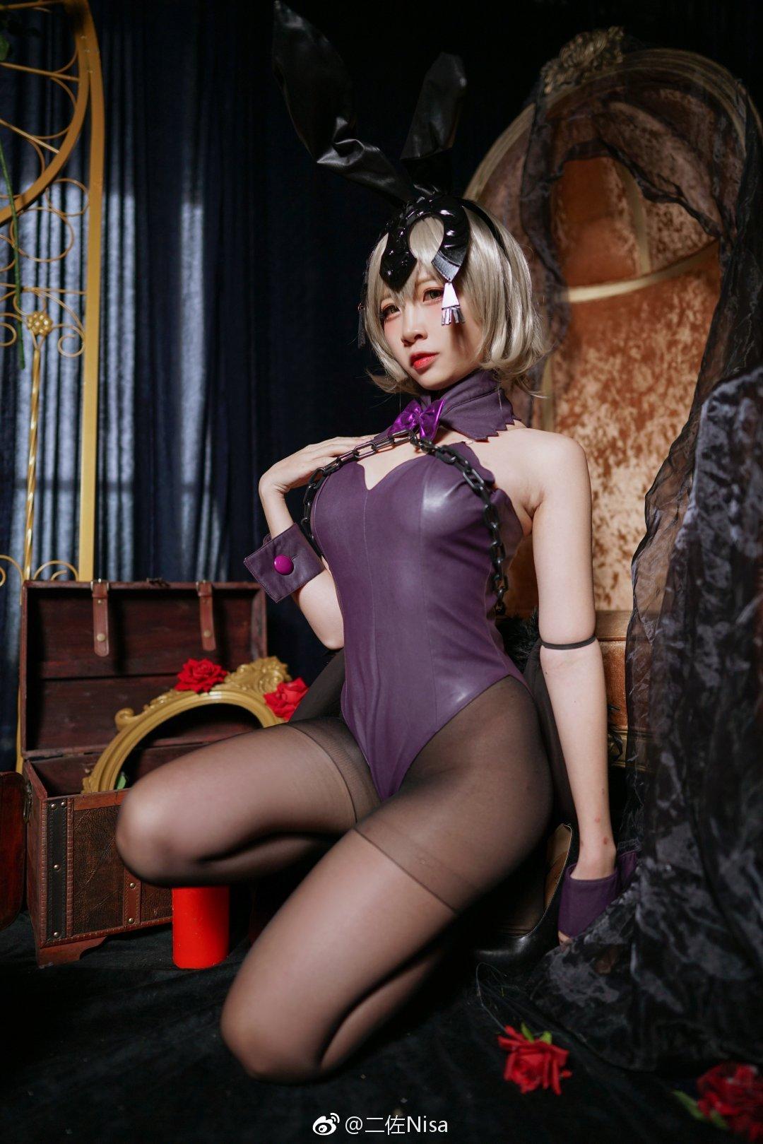 二佐Nisa的兔女郎黑贞Cosplay,这丝袜真带感