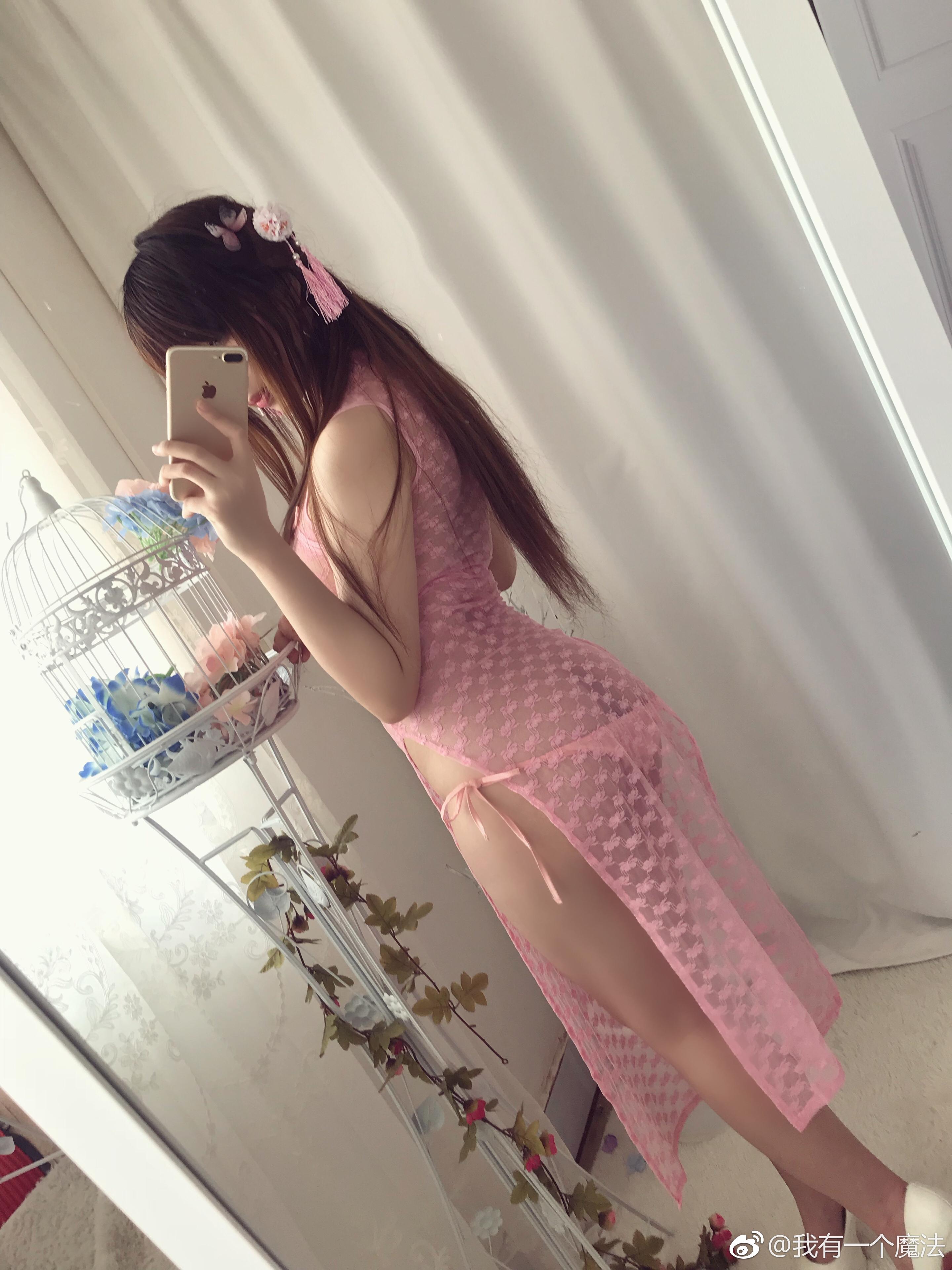 萌妹老板娘亲自上阵的福利自拍,粉色蕾丝旗袍 (9P)