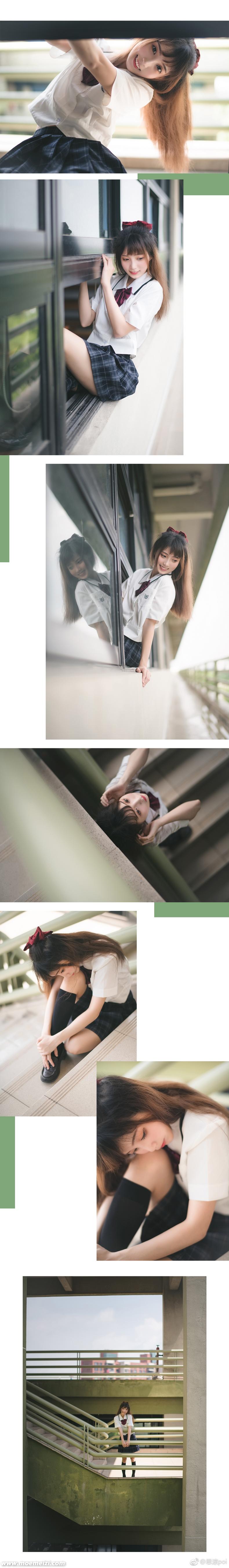 清纯的夏日JK制服少女@思涼poi 美女写真-第9张