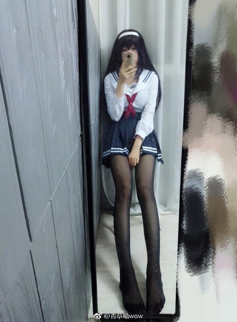 萌妹子的路人女主校服Cos自拍,腿子真长(9P)
