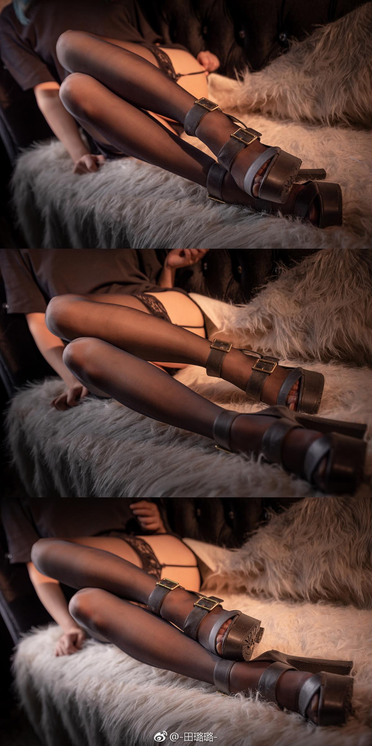黑丝的正确穿法,吊带袜赛高! 美女写真-第3张