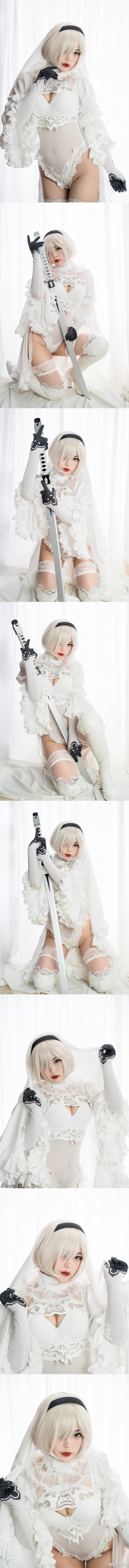 2B小姐姐的白色礼装Cosplay