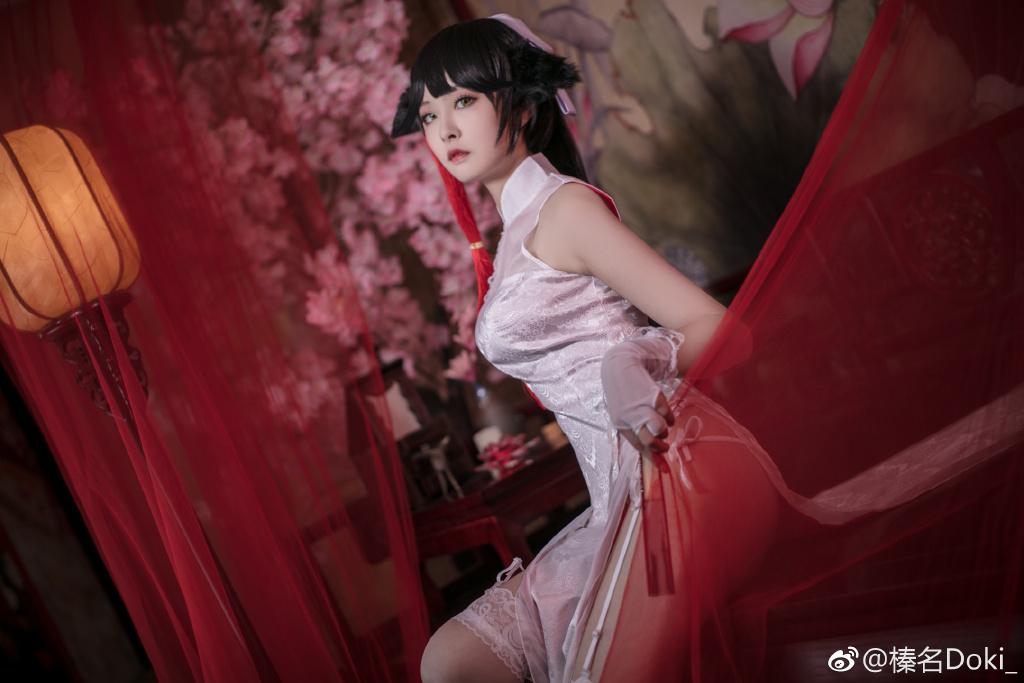 【萌妹子Cosplay】碧蓝航线高雄白色蕾丝吊带袜(9P)